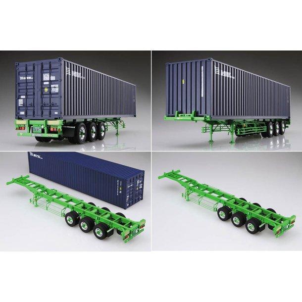Plastbyggesæt containertrailer med container til lastbil 1/32