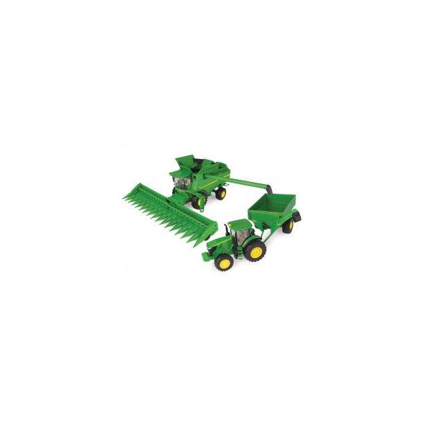 John Deere playset med mejetærsker, traktor, og kornvogn 1/32 Ertl