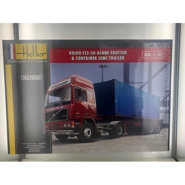 Byggesæt Volvo F12-20 Globetrotter + Container Trailer - 1:32 Heller
