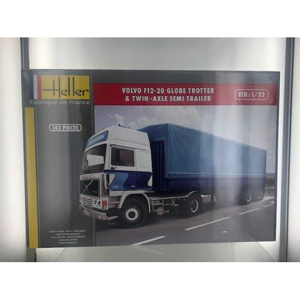 Byggesæt Volvo F12-20 Globetrotter + Presennings Trailer - 1:32 Heller
