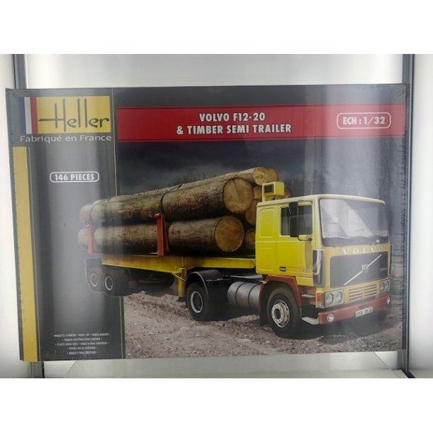 Byggesæt Volvo F12-20 Globetrotter + Tømmer Trailer - 1:32 Heller