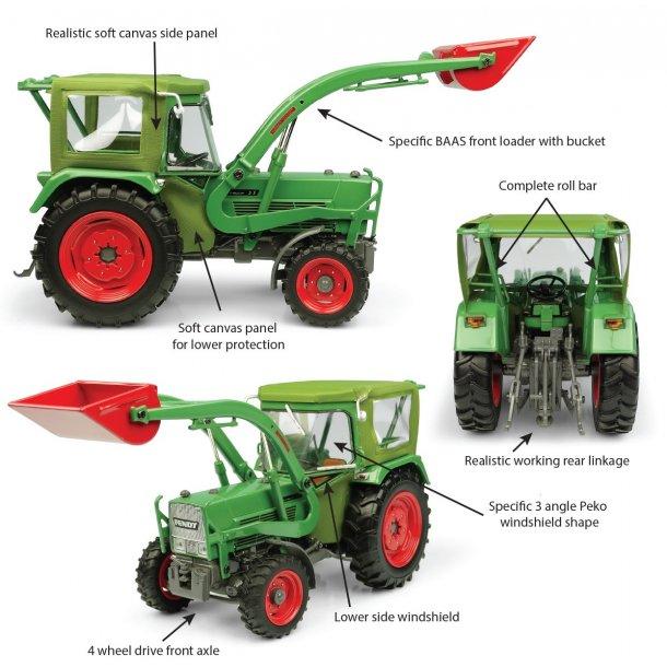 Fendt Farmer 5S m/Peko hus og BAAS læsser 4WD traktor 1/32 UH Universal Hobbies