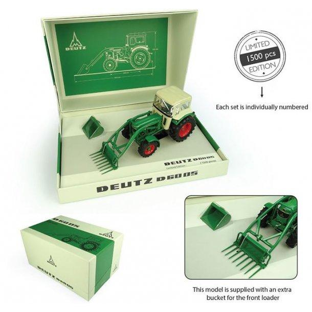 Deutz D6005 4WD traktor med frontlæsser og hus 1/32 UH Universal Hobbies